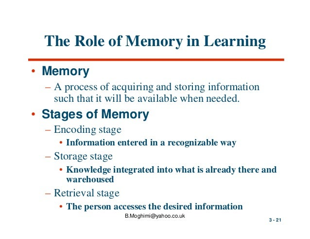 essay on memory and learning What is learning and memory memories are the internal mental records that we maintain, which give us instant access to our personal past.