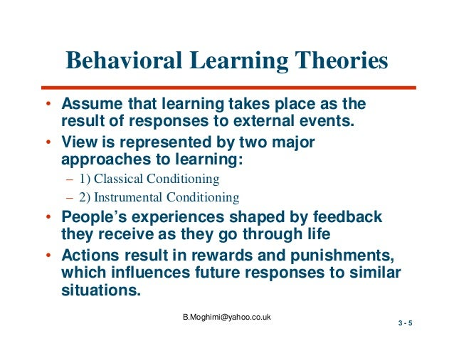 introduction to learning theory and behavioral Chapter 1: introduction  the impact of learning theory on  construed to apply broadly to many different types of learning, including: changes in behavior,.