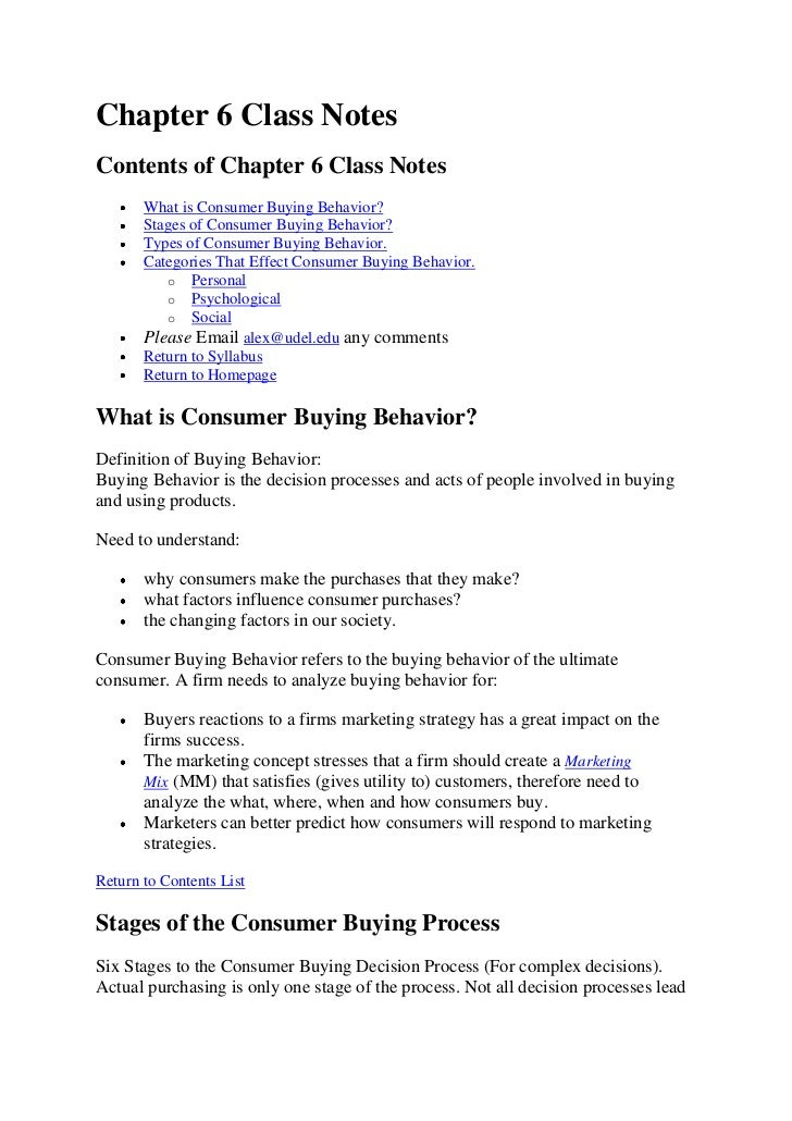 Chapter 6 Class NotesContents of Chapter 6 Class Notes       What is Consumer Buying Behavior?       Stages of Consumer Bu...
