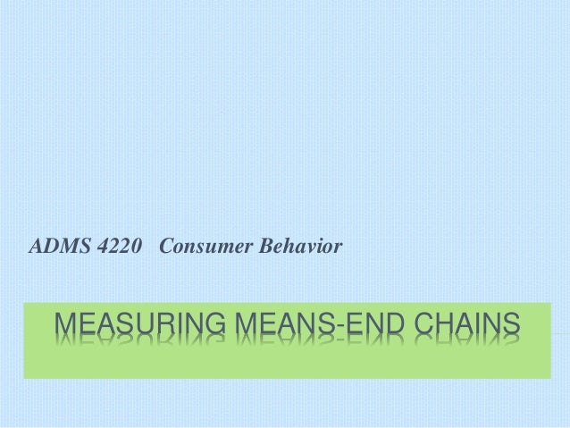 ADMS 4220 Consumer Behavior  MEASURING MEANS-END CHAINS