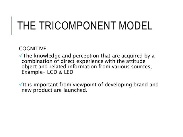 THE TRICOMPONENT MODEL COGNITIVE The knowledge and perception that are acquired by a combination of direct experience wit...