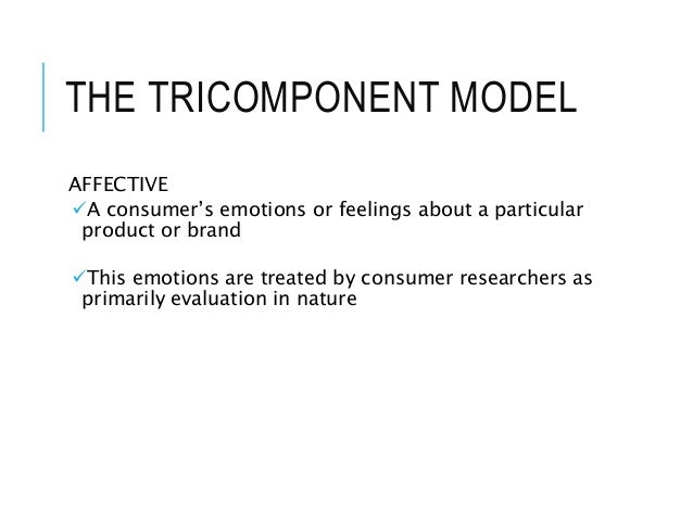 THE TRICOMPONENT MODEL AFFECTIVE A consumer's emotions or feelings about a particular product or brand This emotions are...