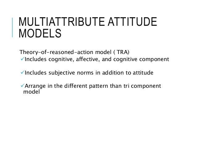 MULTIATTRIBUTE ATTITUDE MODELS Theory-of-reasoned-action model ( TRA) Includes cognitive, affective, and cognitive compon...