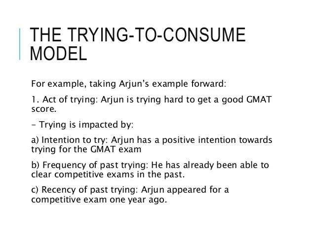 THE TRYING-TO-CONSUME MODEL For example, taking Arjun's example forward: 1. Act of trying: Arjun is trying hard to get a g...