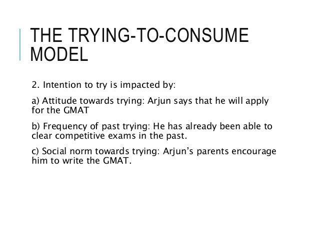 THE TRYING-TO-CONSUME MODEL 2. Intention to try is impacted by: a) Attitude towards trying: Arjun says that he will apply ...