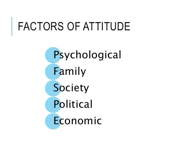 FACTORS OF ATTITUDE Psychological Family Society Political Economic