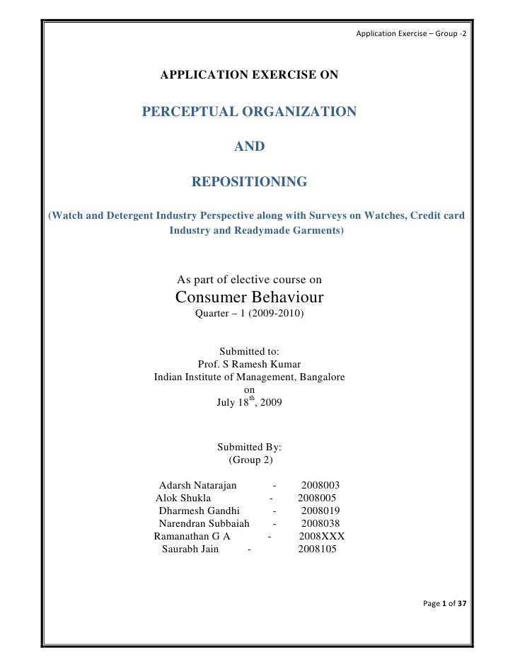 Application Exercise – Group -2                          APPLICATION EXERCISE ON                    PERCEPTUAL ORGANIZATIO...