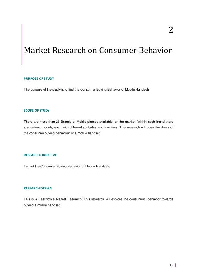 research on consumer behaviour on mobile handset Consumers can't be undermined the mobile phone market is one of the vast  areas to study the technological revolution in the mobile sector escort booming.
