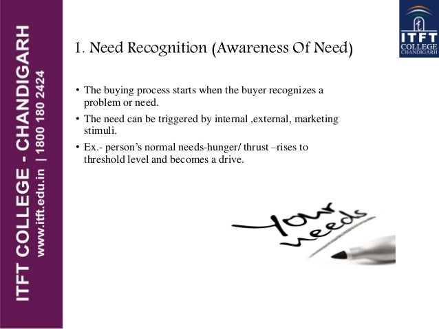1. Need Recognition (Awareness Of Need) • The buying process starts when the buyer recognizes a problem or need. • The nee...