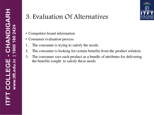 3. Evaluation Of Alternatives • Competitor brand information • Consumer evaluation process 1. The consumer is trying to sa...