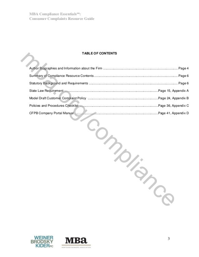 MBA Compliance Essentials℠: Consumer Complaints Resource Guide 3 TABLE OF CONTENTS Author Biographies and Information abou...