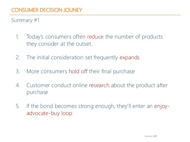 CONSUMER DECISION JOUNEY Summary #1 1. Today's consumers often reduce the number of products they consider at the outset. ...