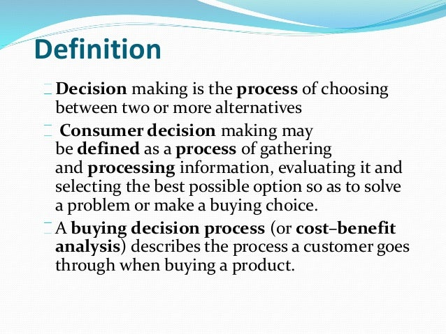 Consumer decision process Slide 2