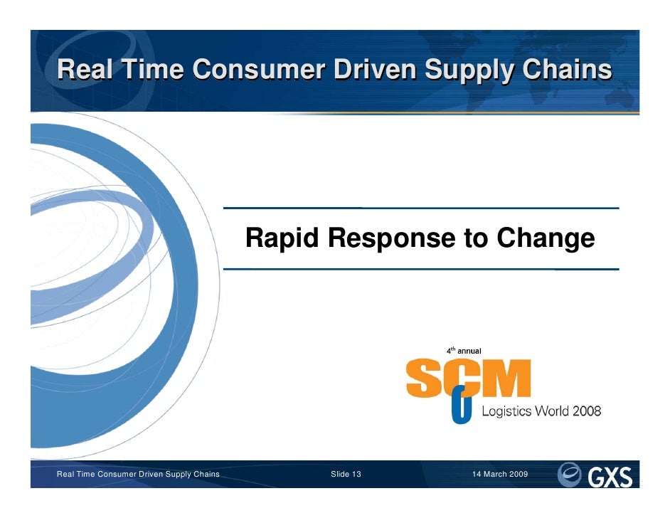 Real Time Consumer Driven Supply Chains                                               Rapid Response to Change            ...
