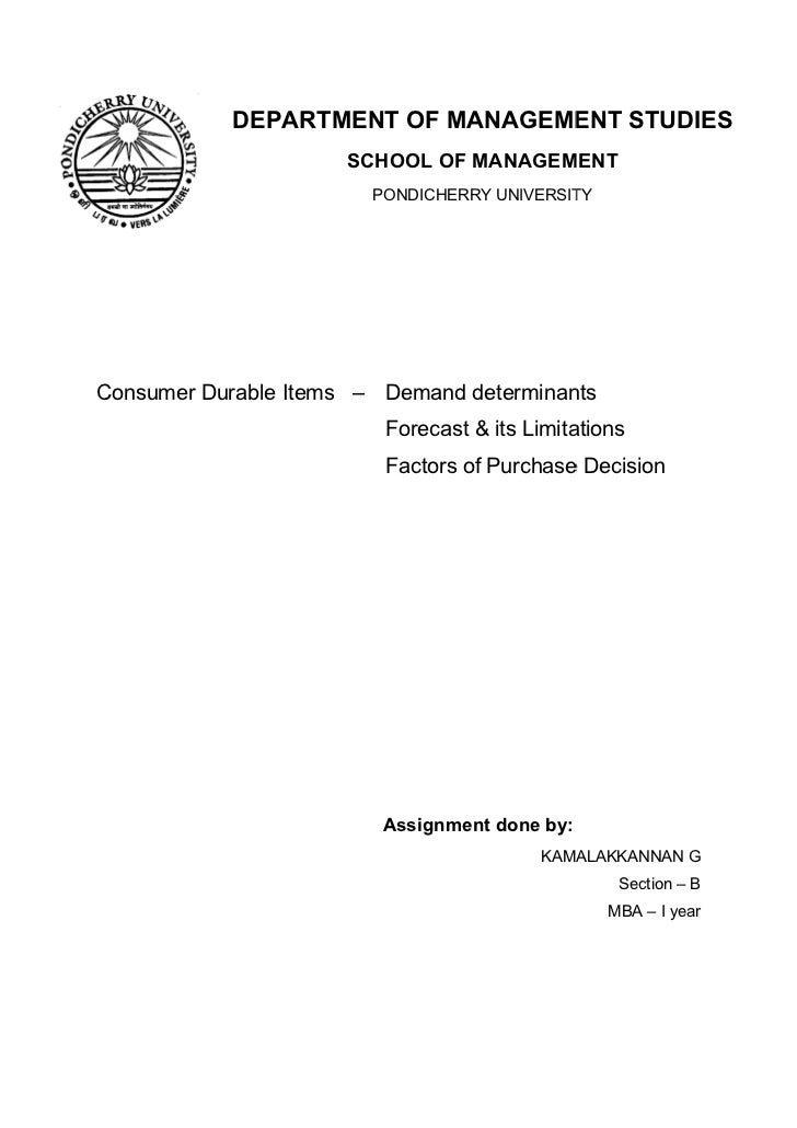 DEPARTMENT OF MANAGEMENT STUDIES                       SCHOOL OF MANAGEMENT                            PONDICHERRY UNIVERS...