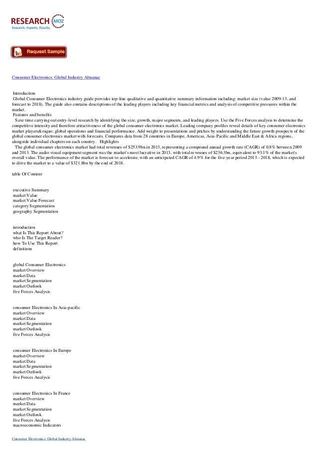 Consumer Electronics: Global Industry Almanac Introduction Global Consumer Electronics industry guide provides top-line qu...