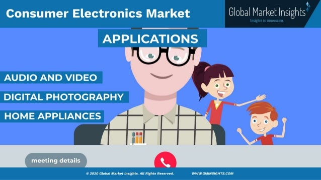 Consumer Electronics Market size was valued at over USD 1 trillion in 2020 and is estimated to grow at a CAGR of more than 8% from 2021 to 2027. Slide 2