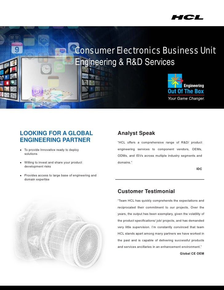 Consumer Electronics Business Unit                                     Engineering & R&D ServicesLOOKING FOR A GLOBAL     ...