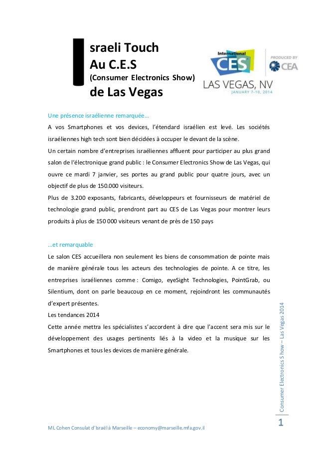 I  sraeli Touch Au C.E.S (Consumer Electronics Show)  de Las Vegas  Une présence israélienne remarquée… A vos Smartphones ...