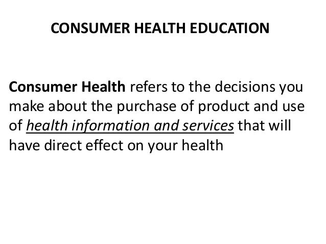 Consumer Health Education (MAPEH)