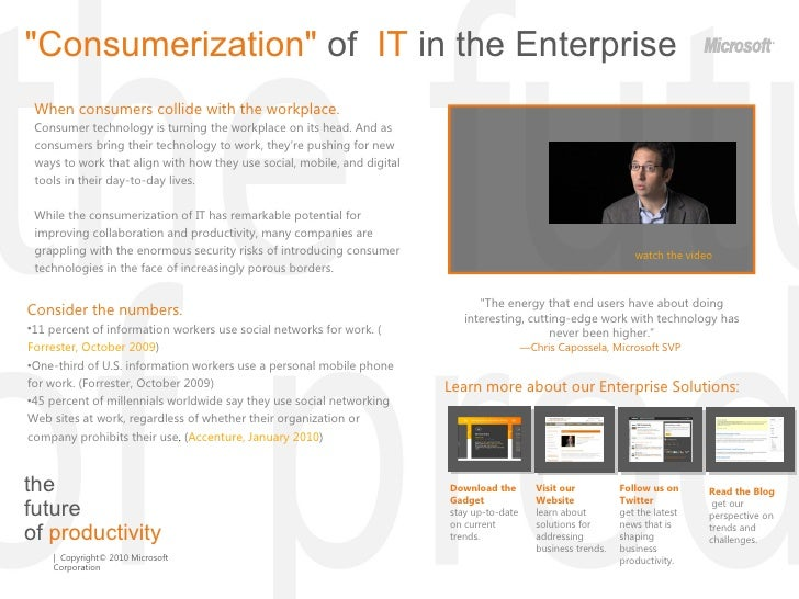 """the  future  of  productivity """"Consumerization""""  of  IT  in the Enterprise When consumers collide with the workp..."""