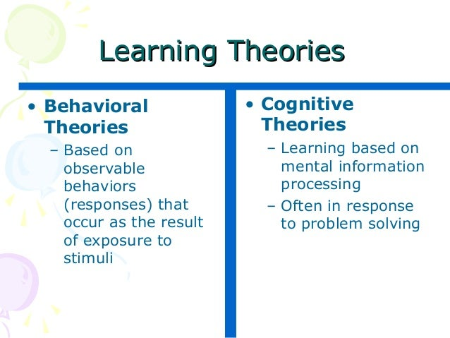 Behavioral vs Cognitive Perspectives on Learning Theories