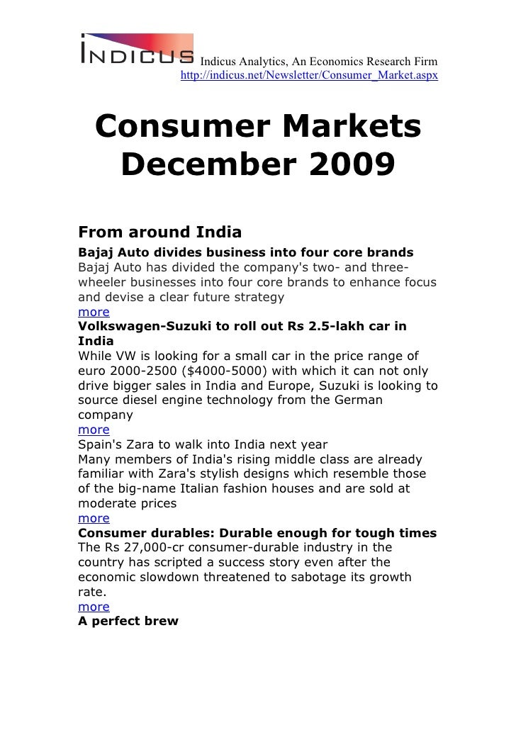 Indicus Analytics, An Economics Research Firm                  http://indicus.net/Newsletter/Consumer_Market.aspx      Con...