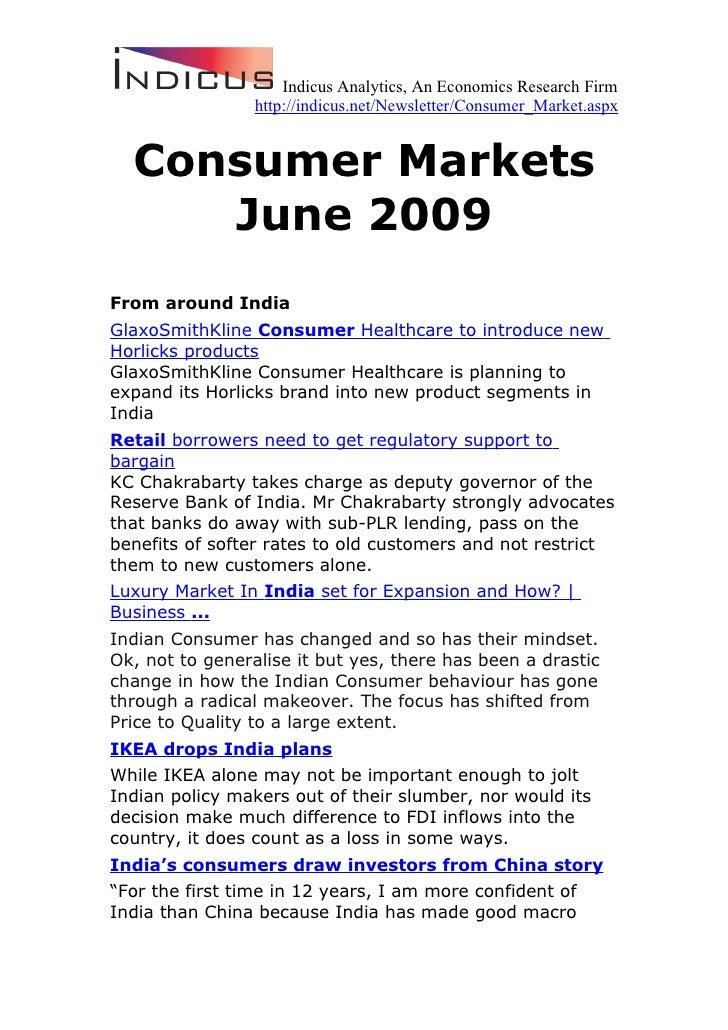 Consumer Markets - June 2009