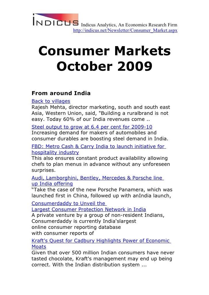 Indicus Analytics, An Economics Research Firm                 http://indicus.net/Newsletter/Consumer_Market.aspx      Cons...