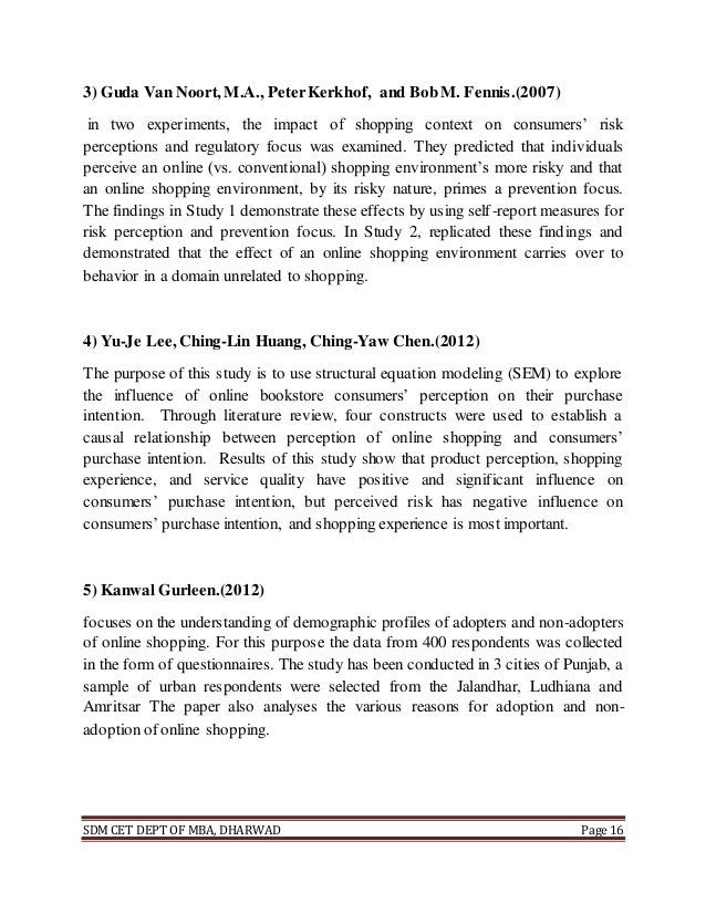 Literature review on online shopping 2012