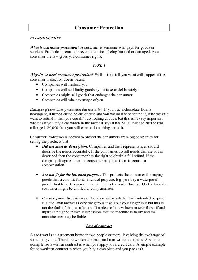 Consumer protection for Sale of goods agreement template