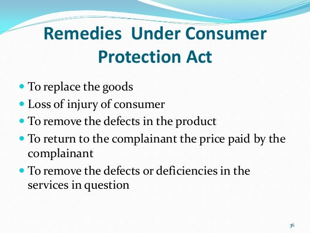 consumer protection act presentation  36 remedies under consumer protection