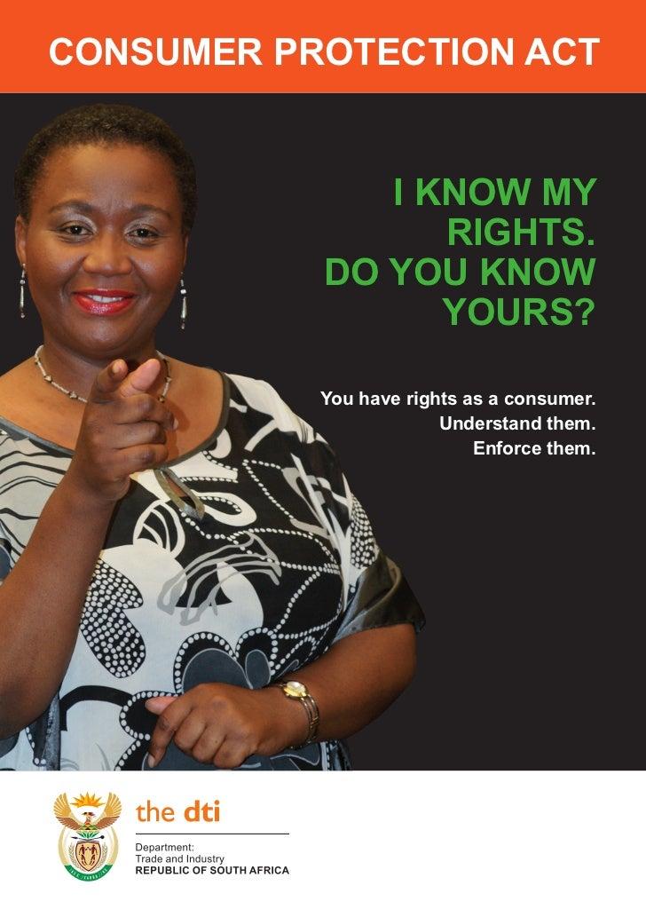 Consumer ProteCtion ACt              i know my                 rights.           Do you know                 yours?       ...