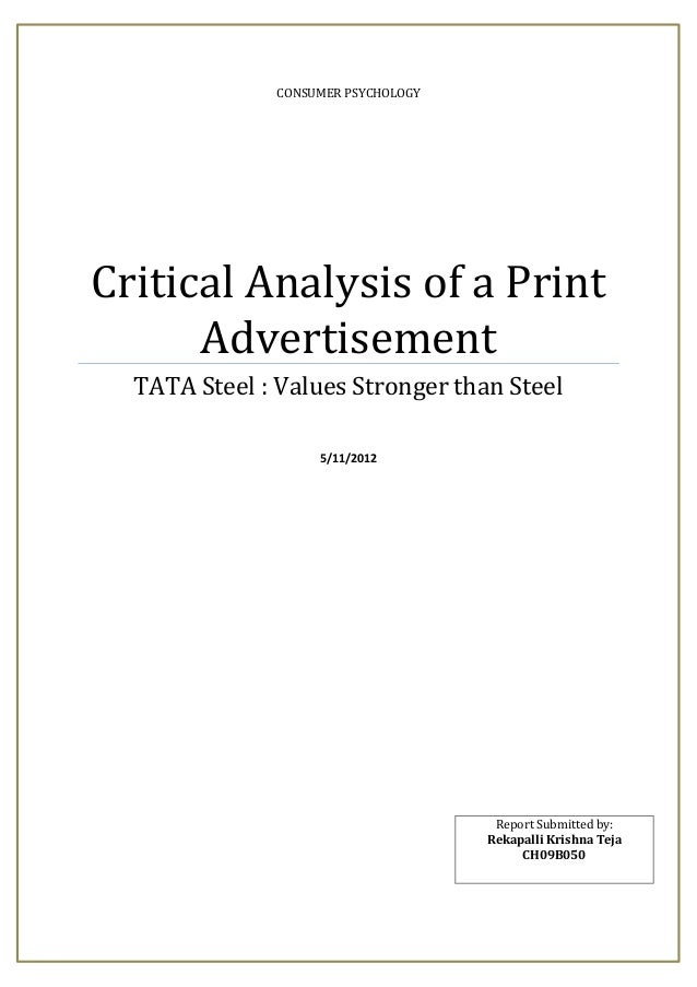 CONSUMER PSYCHOLOGYCritical Analysis of a Print      Advertisement  TATA Steel : Values Stronger than Steel               ...