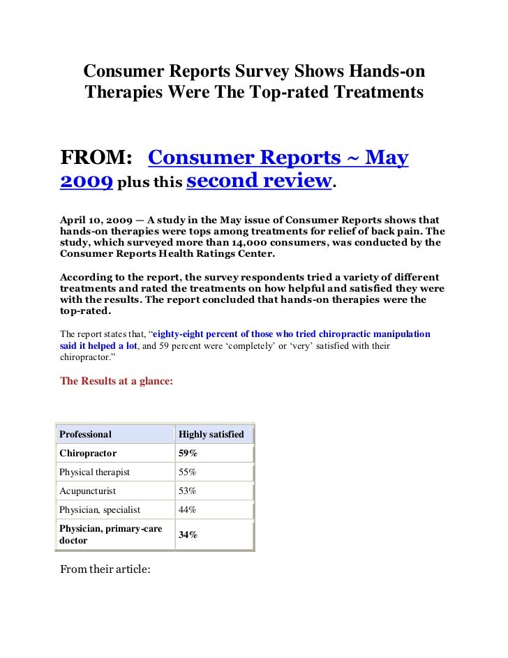 Consumer Reports Survey Shows Hands-on      Therapies Were The Top-rated TreatmentsFROM: Consumer Reports ~ May2009 plus t...