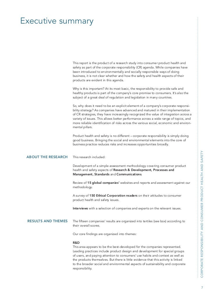 corporate responsibility and consumer safety essay A number of studies in a business-to-consumer context have established a positive link between a firm's corporate social responsibility (csr) activities and important consumer outcomes.