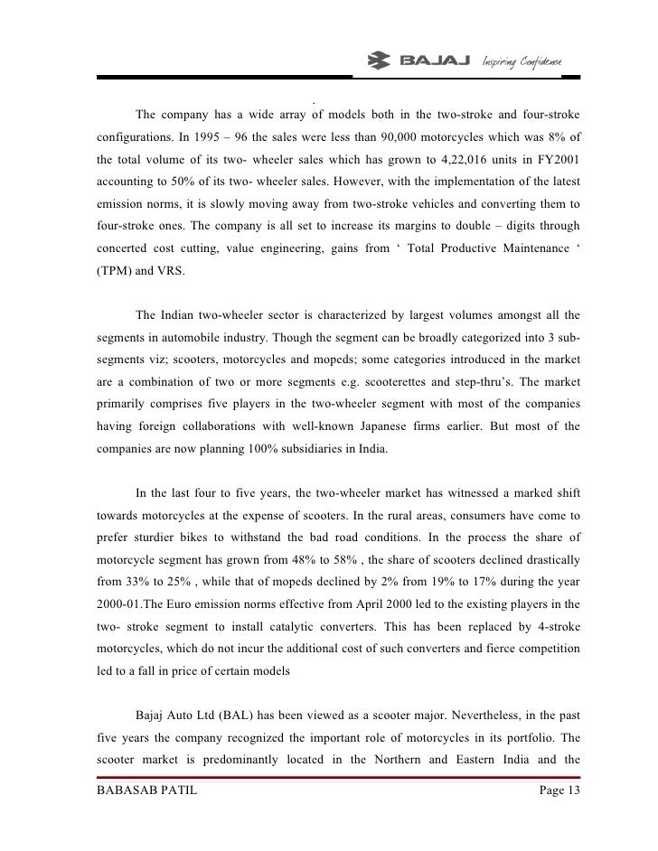project report in consumer satisfection bajaj two wheeler Consumer behavior towards show-room services of two wheelers with reference to cuddalore district this study is made to describe the consumer satisfaction of two wheelers with respect to socio-economic characteristics as age view project article language.