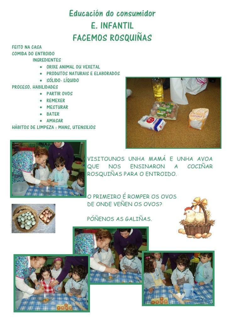 Educación do consumidor                            E. INFANTIL                        FACEMOS ROSQUIÑASFEITO NA CASACOMIDA...