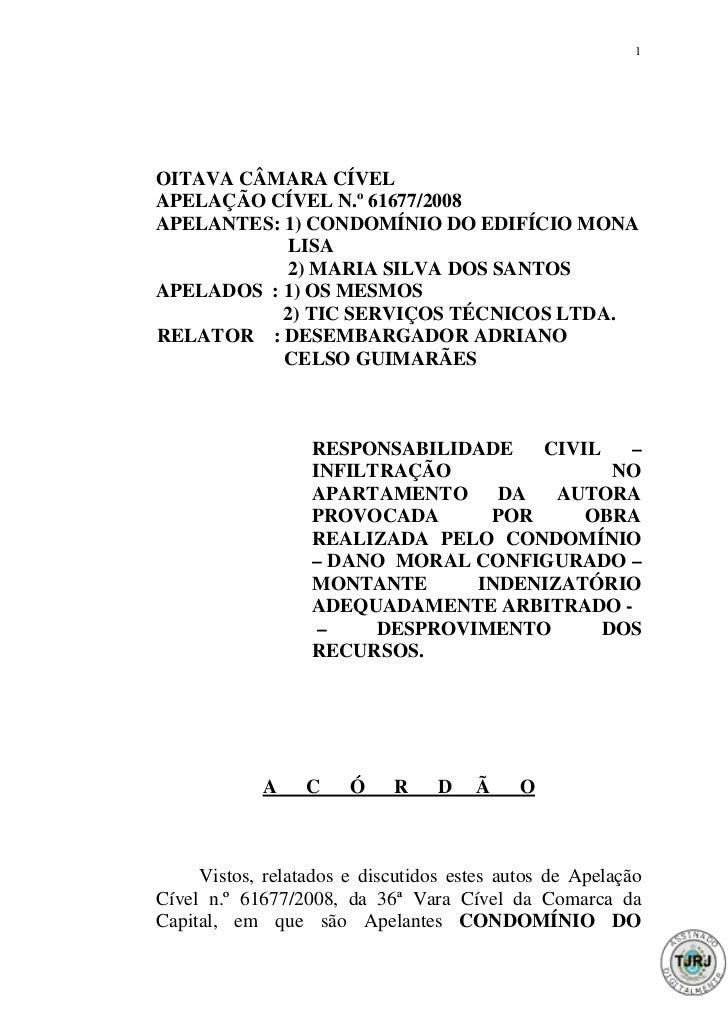 1OITAVA CÂMARA CÍVELAPELAÇÃO CÍVEL N.º 61677/2008APELANTES: 1) CONDOMÍNIO DO EDIFÍCIO MONA           LISA           2) MAR...