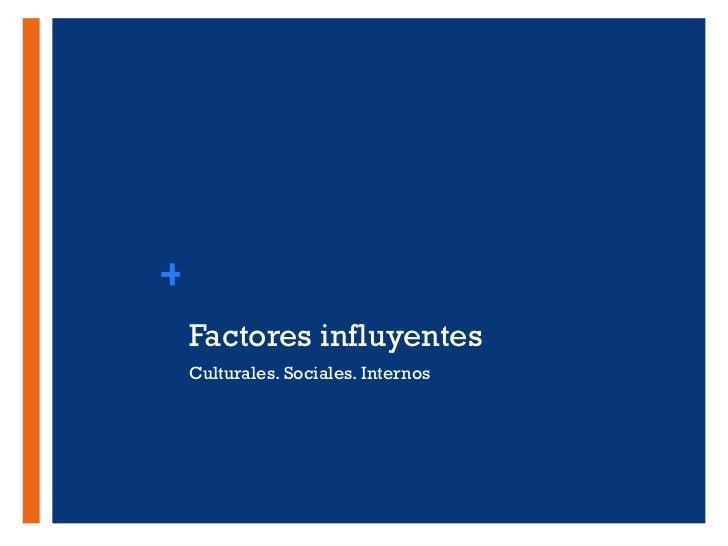 Factores influyentes <ul><li>Culturales. Sociales. Internos </li></ul>+