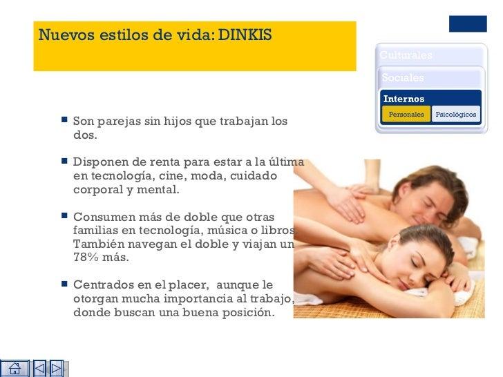 Nuevos estilos de vida: DINKIS <ul><li>Son parejas sin hijos que trabajan los dos.  </li></ul><ul><li>Disponen de renta pa...