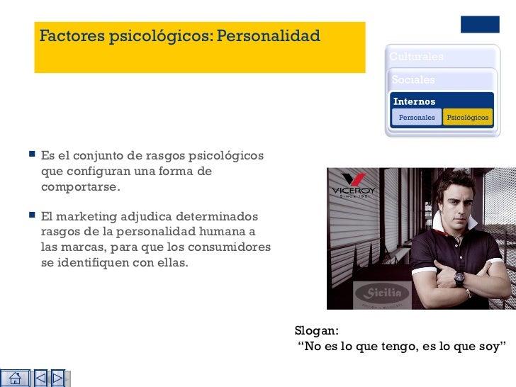 Factores psicológicos: Personalidad <ul><li>Es el conjunto de rasgos psicológicos que configuran una forma de comportarse....