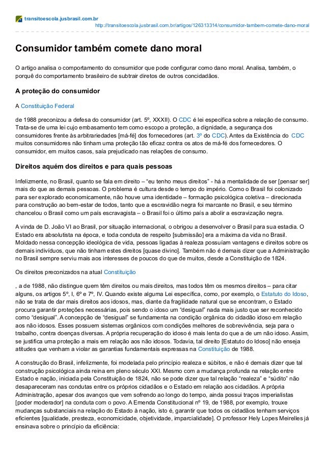transitoescola.jusbrasil.com.br http://transitoescola.jusbrasil.com.br/artigos/126313314/consumidor-tambem-comete-dano-mor...