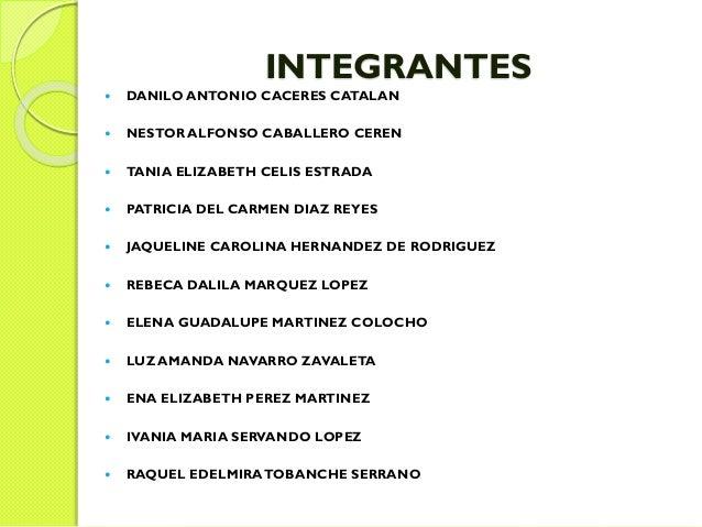 INTEGRANTES  DANILO ANTONIO CACERES CATALAN  NESTOR ALFONSO CABALLERO CEREN  TANIA ELIZABETH CELIS ESTRADA  PATRICIA D...