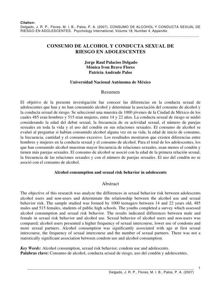 Citation: Delgado, J. R. P., Flores, M. I. B., Palos, P. A. (2007). CONSUMO DE ALCOHOL Y CONDUCTA SEXUAL DE RIESGO EN ADOL...