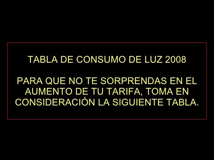 TABLA DE CONSUMO DE LUZ 2008 PARA QUE NO TE SORPRENDAS EN EL AUMENTO DE TU TARIFA, TOMA EN CONSIDERACIÓN LA SIGUIENTE TABLA.