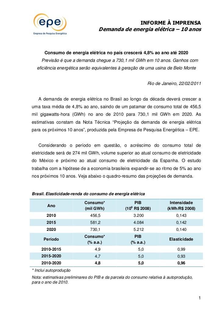 INFORME À IMPRENSA                                   Demanda de energia elétrica – 10 anos      Consumo de energia elétric...