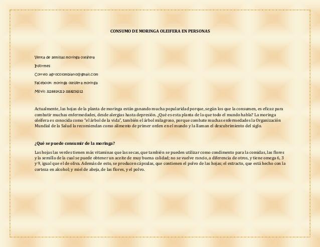 CONSUMO DE MORINGA OLEIFERA EN PERSONAS Venta de semillas moringa oleífera Informes Correo: agrocolombiano@gmail.com Faceb...