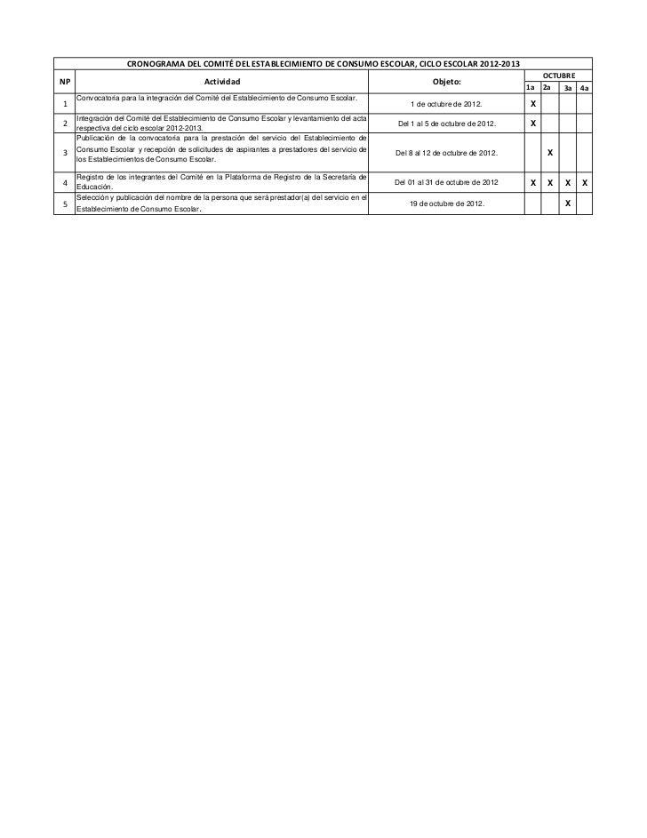 CRONOGRAMA DEL COMITÉ DEL ESTABLECIMIENTO DE CONSUMO ESCOLAR, CICLO ESCOLAR 2012-2013                                     ...