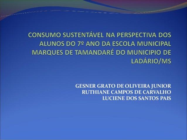 GESNER GRATO DE OLIVEIRA JUNIOR RUTHIANE CAMPOS DE CARVALHO LUCIENE DOS SANTOS PAIS